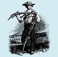 young farmhand with scythe