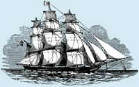 three masted sailing ship