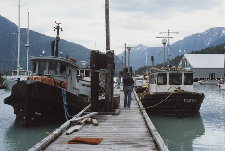 Boats docked in Bella Coola, B C